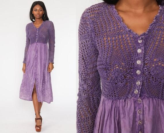 Sheer Crochet Dress 90s Midi Purple Tie Dye Dress Grunge Lace Boho Cut Out Button Up Party 1990s Vintage Bohemian Hippie Cutwork Small