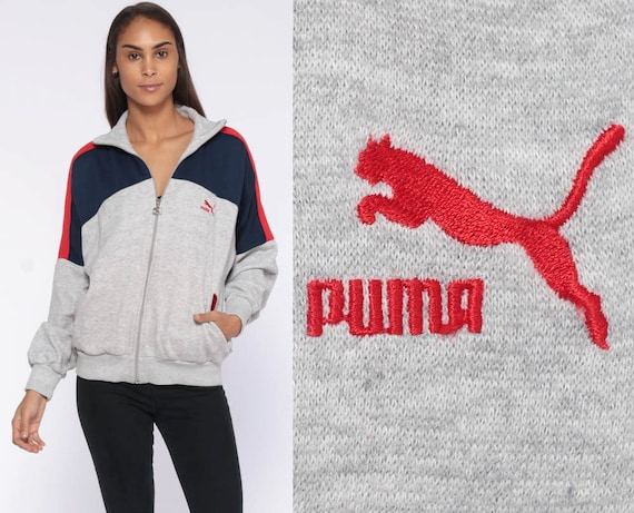 Puma Sweatshirt Zip Up Track Jacket Retro Grey Sweat Shirt Graphic 1980s Sports Athletic Vintage 80s Navy Blue Gray Streetwear Medium Large