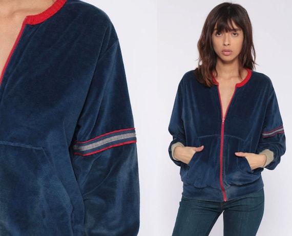 Vintage Velour Track Jacket -- 70s 80s Zip Up Sweatshirt Warm Up Dark Blue Retro Munsingwear Long Sleeve Slouchy Small