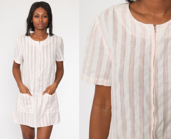 60s Mini Dress Baby Pink White Striped 1960s Shift Mod Vintage 70s Twiggy Front Zip Up Short Sleeve Minidress Medium