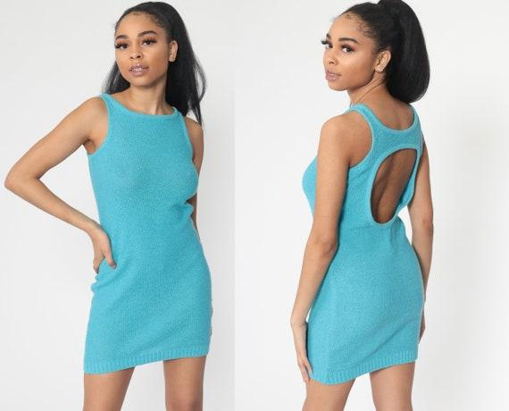 Knit Keyhole Dress 90s Mini Blue Dress Cutout Back Sleeveless Sheath Party Dress Turquoise Vintage 1990s Retro Preppy Extra Small XS