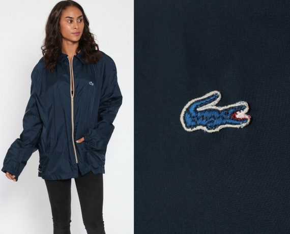 Lacoste Windbreaker Jacket 80s Navy Blue Jacket Light Crocodile Coat Vintage 1980s Wind Breaker Lightweight Extra Large xl l