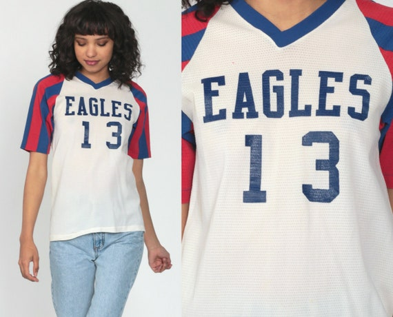 80s Baseball Shirt EAGLES Jersey Sheer Mesh Numbered 13 Ringer Tee Athletic Sports Striped Top V Neck Tshirt Vintage 1980s Extra Small xs