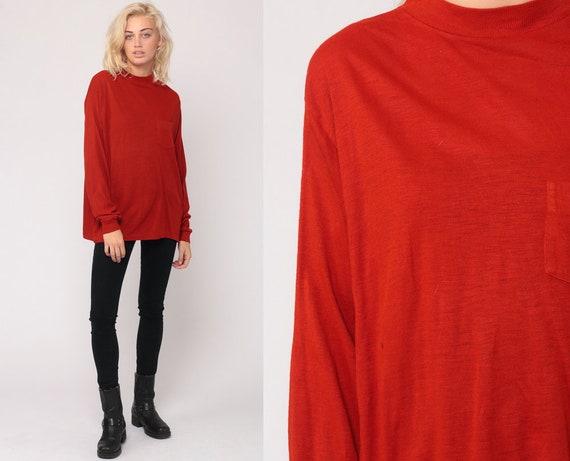 Long Sleeve Shirt Red TShirt 80s T Shirt Burnout Tee Paper Thin Pocket Plain Top Hipster Retro Tee Vintage Large