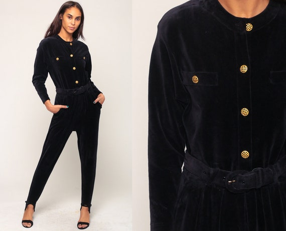 Velour Jumpsuit STIRRUP Jumpsuit 80s Jumpsuit TAPERED Pants Black Pantsuit Belted Button Up Vintage Long Sleeve Romper Pants Small