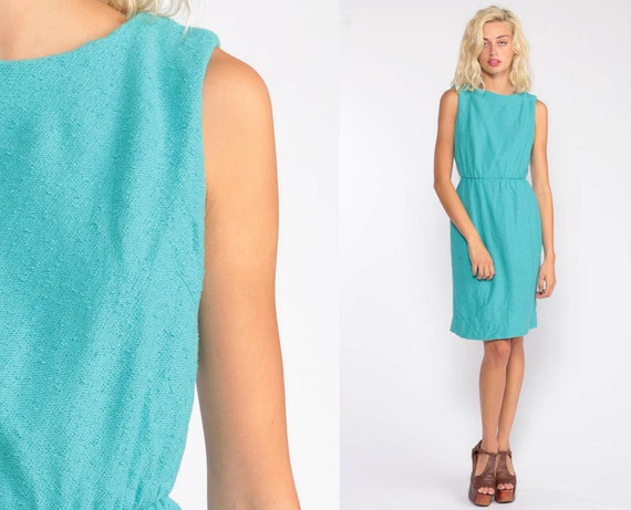 60s Wiggle Dress Turquoise Blue Dress Nubby 1960s Sheath Cocktail Mad Men Midi Hourglass Pencil Vintage High Waist Sleeveless Extra Small xs