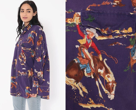 Cowboy Shirt Rodeo Western Shirt 90s Equestrian Top Purple Button Up Blouse Novelty Vintage 1990s Long Sleeve Extra Large xl l