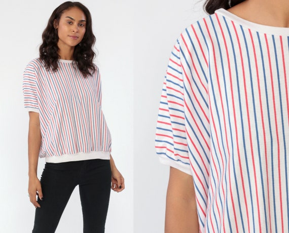 80s Striped Shirt Red White Blue Shirt 1980s Ringer Shit Striped Top Slouchy Blouse 80s Pullover Shirt Simple Casual Tshirt 1980s Medium