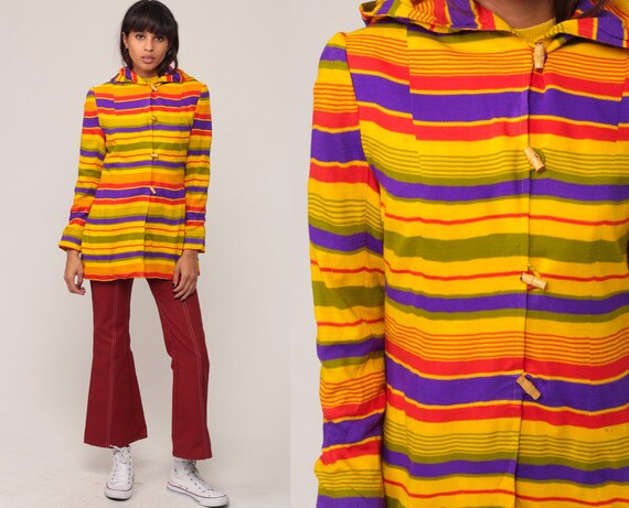 Hooded Jacket 70s Hippie Striped Jacket Hood Striped Hoodie 1970s Lightweight Jacket Boho Yellow Purple Vintage Hipster Extra Small xs