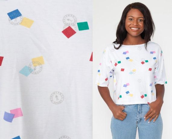 Geometric Tshirt 90s White Crop Top Square Print T Shirt Graphic Top Short Sleeve T Shirt 80s Vintage Medium