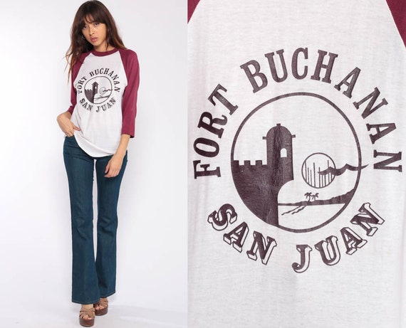 Fort Buchanan Shirt San Juan Army Base Shirt Retro TShirt Graphic Vintage T Shirt 70s Tee Long Sleeve Tshirt Raglan Tee 80s Medium