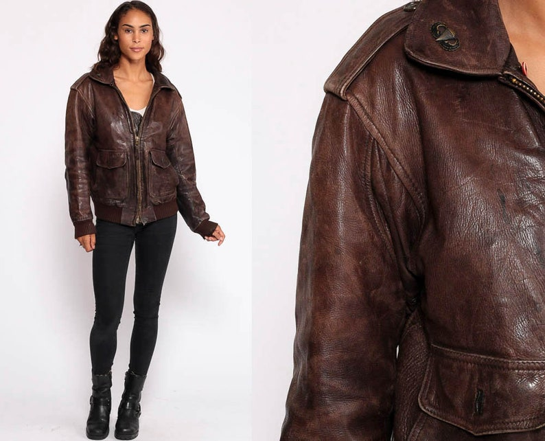 e225ab3335ed Leather Bomber Jacket Brown Leather Biker 80s Moto Coat