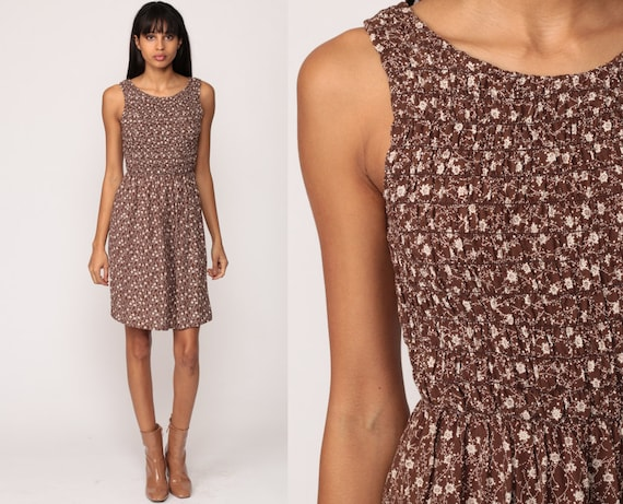 Floral Sundress Mini Dress 80s Hippie SMOCKED Boho High Waist Summer 1980s Vintage Sun Brown White Sleeveless Small