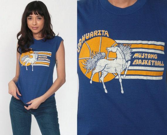 Mustang Basketball Shirt Sahuarita Arizona Shirt 80s TShirt Sports Graphic Horse Tee Blue Single Stitch Shirt Vintage Muscle Tee Small xs s