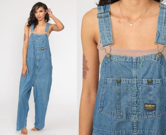 OshKosh Overalls Bib Overalls 80s Denim Osh Kosh Jeans Distressed Pants Workwear Long Blue Dungarees Coveralls 1980s Vintage Large xl l