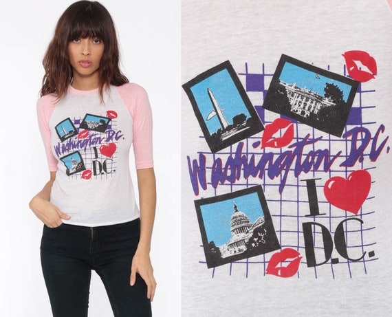 Washington DC Shirt Raglan Tee Shirt LIPS Baseball Shirt Vintage Graphic Burnout tshirt Paper Thin 80s Soft T Shirt 70s Retro extra Small xs