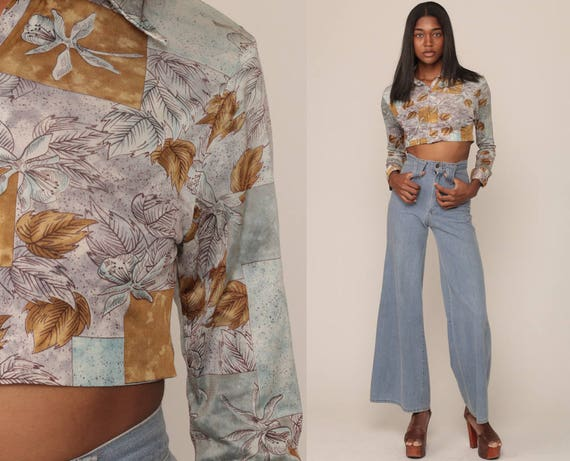 Floral Blouse 70s Boho Shirt Crop Top Disco Top Button Up Shirt Hippie Long Sleeve 1970s Bohemian Vintage Lavender Grey Retro Small Medium