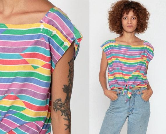 Rainbow Crop Top Striped T Shirt 80s TShirt Square Neck Button Shoulder Tie Waist Retro Tee Cap Sleeve Vintage Cropped Shirt Small Medium