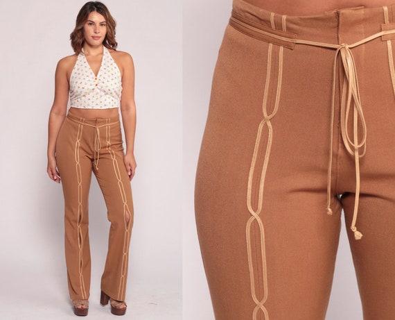 Bell Bottom Pants 90s Pants Boho Trousers CUT OUT Pants Festival Trousers Flare Cutout Light Brown Hippie Vintage Bohemian Large 10 12 31