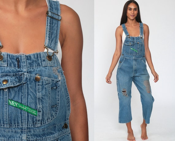 Ripped Overalls Pants xs 90s Denim Pants Jean Dungarees KEY IMPERIAL Wide Leg Baggy Cropped Bib Coveralls Blue Carpenter Extra Small Petite