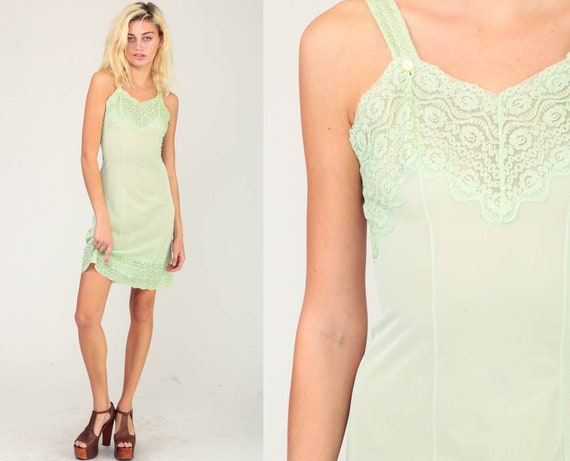 Green Slip Dress 70s Lingerie Mini Lace SHEER Lingerie Lime Pastel Green Vintage Boho Lace Pin Up 1970s V Neck Pinup Extra Small xs