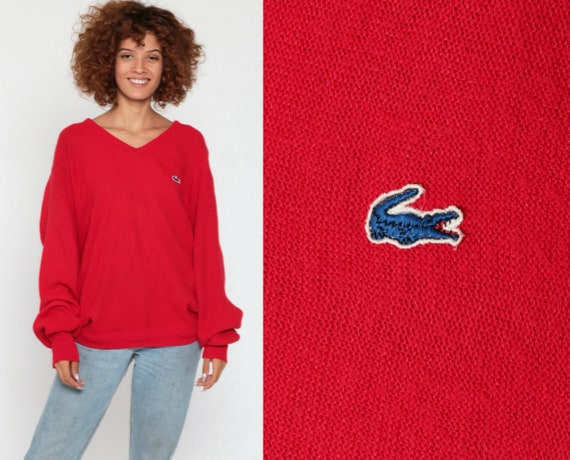 Izod LACOSTE Sweater 80s Red V Neck Slouchy Pullover Jumper Knit Vintage 1980s Preppy Crocodile Oversized Retro Medium Large