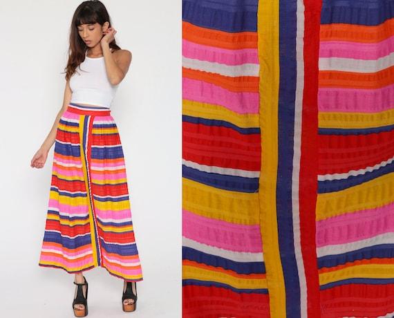 Lanz Originals Skirt Striped 70s Maxi Skirt Cotton 1970s Hippie Boho Festival High Waist Long Pink Yellow Bohemian Vintage Small Medium