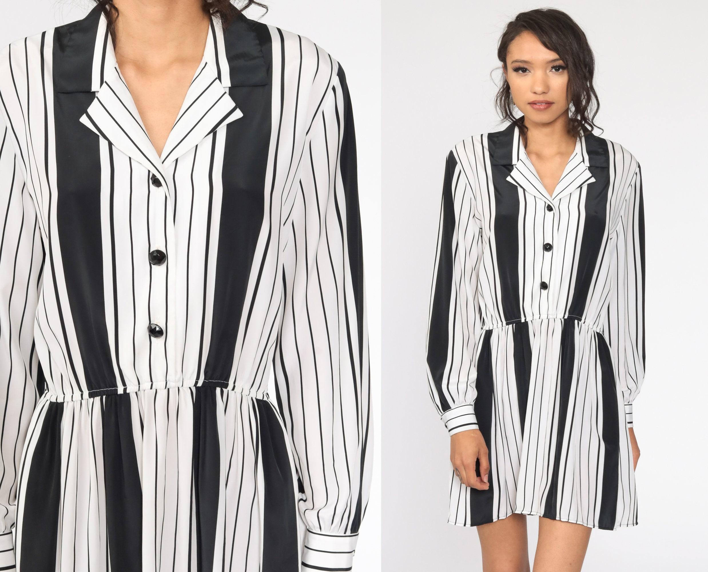 80s Dresses | Casual to Party Dresses striped Button Up Dress 80S Mini Black White High Waisted Boho Secretary Vintage 1980S Minidress Medium $5.95 AT vintagedancer.com
