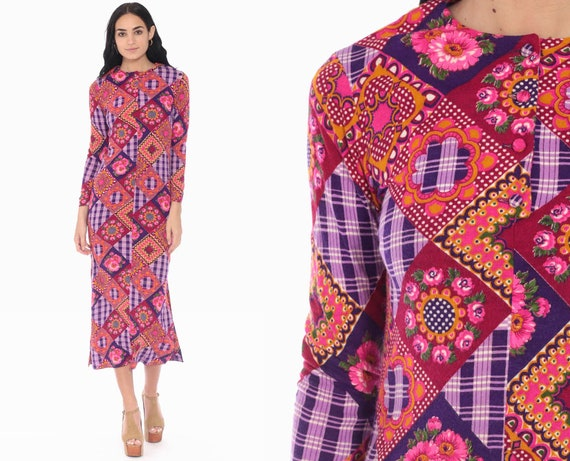 70s Patchwork Dress 70s Boho Floral Print PSYCHEDELIC Pink Purple Sheath Midi 1970s Hippie Bohemian Vintage Long Sleeve Extra Small xs xxs