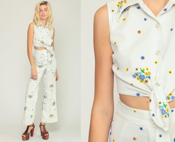 70s Jumpsuit Set Two Piece Outfit BELL BOTTOM Pants Boho Shirt White Floral Bohemian Tank Top Hippie Trousers Vintage Extra Small xs