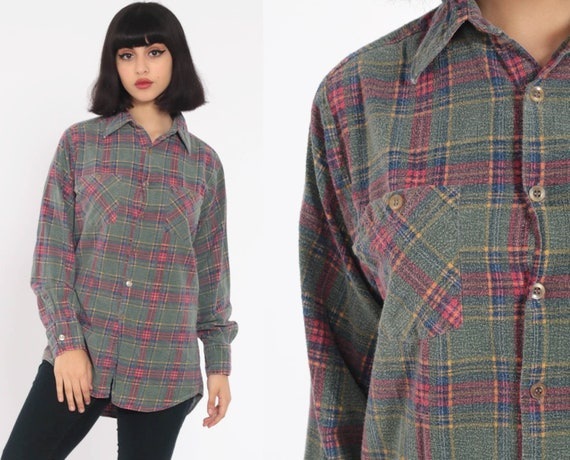Green Plaid Shirt 80s Grunge Flannel Button Down Vintage Long Sleeve Lumberjack Faded Worn Checkered Retro Small xs