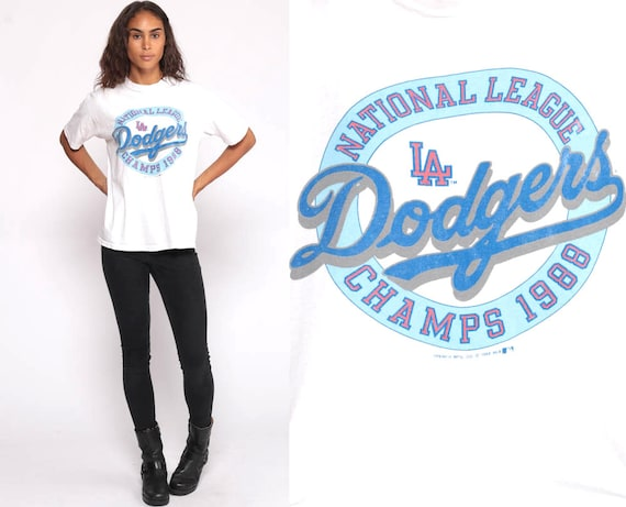 Dodgers Shirt Baseball T Shirt LA Dodgers TShirt Los Angeles California 80s MLB champs 1988 Retro Graphic Vintage 1980s Tee Medium Large