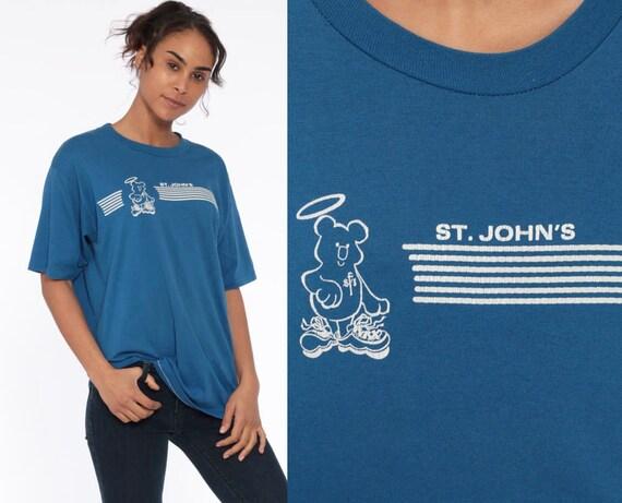80s St John's Shirt School Angel Bear Burnout 80s Graphic TShirt Vintage Retro T Shirt Graphic Tee 1980s Paper Thin Blue Tee Medium Large