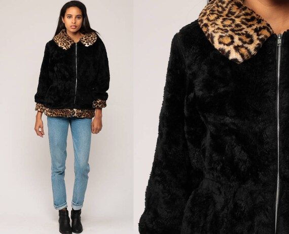 Black Faux Fur Jacket LEOPARD Fake Fur Coat Vegan Winter Vintage 90s Animal Print Bohemian Furry Glam Fuzzy Jacket 1990s Hipster Boho small