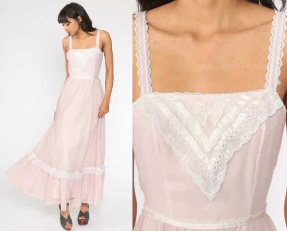 Gunne Sax Dress 70s Maxi PRAIRIE Baby Pink Butter… - image 1