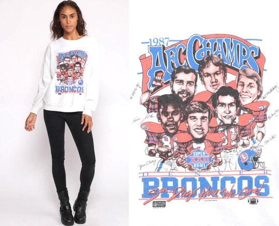 Denver Broncos Shirt Football Tshirt 80s NFL Super Bowl Sweatshirt 1987 AFC Champs Football T Shirt Colorado Tee Vintage Medium