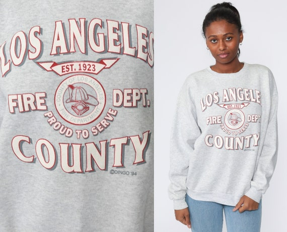 Los Angeles Fire Department Shirt California Sweatshirt 90s Los Angeles Shirt Retro Pullover 1990s Graphic Slouch Extra Large xl l