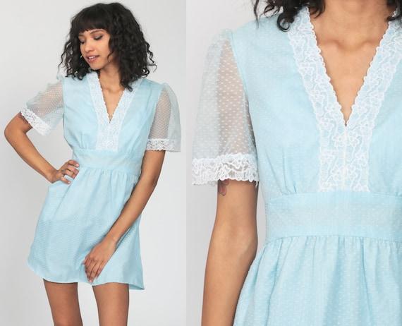 Pastel Babydoll Dress 70s Puff Sleeve Mini Baby Blue Prairie Boho Empire Waist Dress Mod 1970s Bohemian Hippie Vintage Minidress Medium