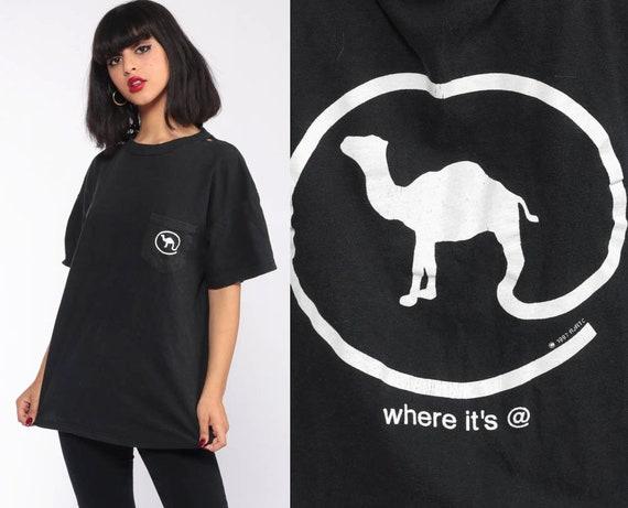 Joe Camel Shirt Y2K Cigarette TShirt 90s WHERE IT'S AT Smokers T Shirt Sports Vintage Retro Tee Graphic Pocket Black Medium Large xl