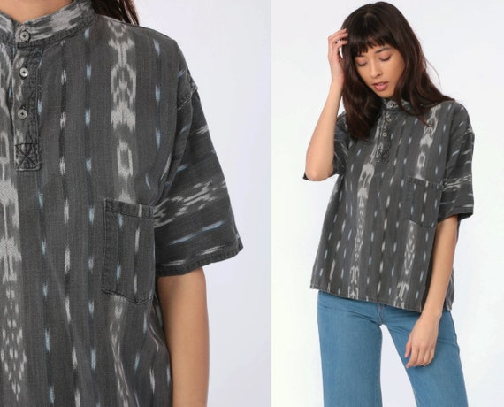 Ikat Shirt Grey Tribal Blouse Button Up Shirt 90s Vintage Boho Hippie Short Sleeve Guatemalan Shirt Grunge Bohemian Button Up Large