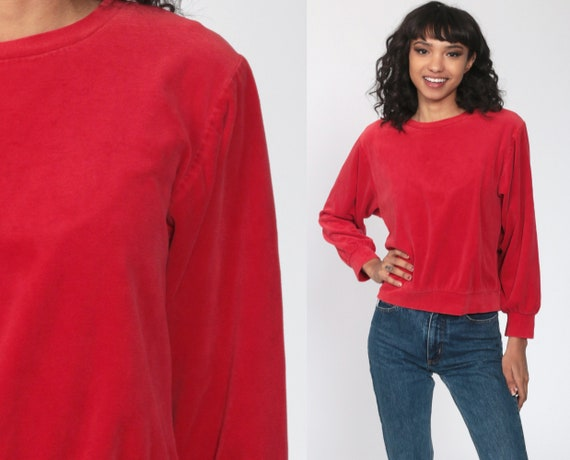 80s Velour Sweatshirt -- Red Soft Long Sleeve Shir