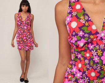 70s Mini Dress Flower Power Summer Dress Floral Dress Deep V Neck Mod RACERBACK Neon 1970s Empire Waist Hippie Vintage Boho Extra Small xs