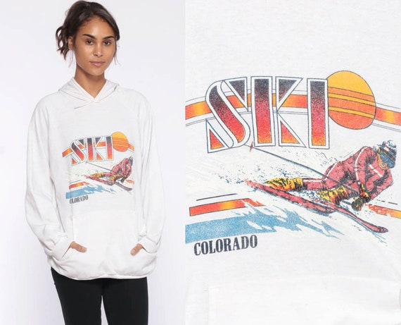 Colorado Ski Sweatshirt 80s Graphic Ski Sweater Hooded Shirt Winter Sports Raglan Sleeve Sweatshirt Vintage Retro Medium Large