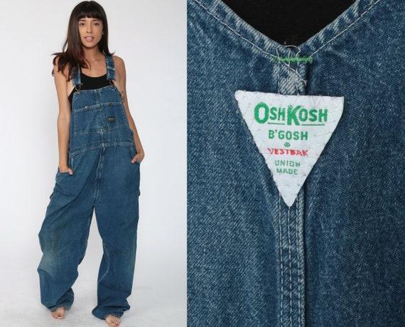 90s Osh Kosh Overalls Men's Large OshKosh Jeans Bib Overalls Painter 1990s Denim Grunge Pants Baggy Long Blue Dungarees Coveralls L xl