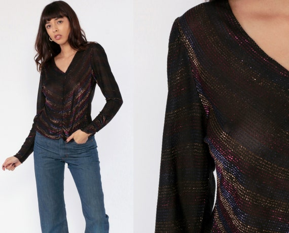 Sheer Metallic Blouse 70s Disco Top 80s Black Gold V Neck Top Striped Long Puff Sleeve Vintage Party Sauci Small Medium