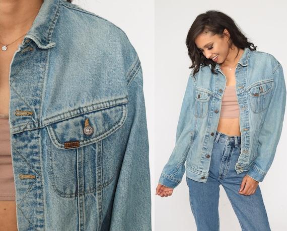 90s Jean Jacket LEE Denim Jacket Blue Jacket Vintage 1990s Biker Button Up Trucker Jacket Medium