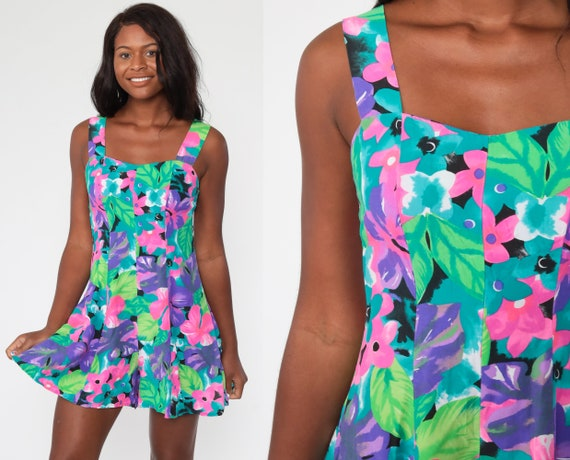Floral Playsuit Neon Romper Tropical Romper 90s One Piece Low Back Woman 1990s Vintage Wide Leg Shorts Summer Sleeveless Small