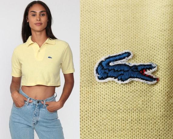 Lacoste Crop Top Yellow Polo Shirt Crop Top 80s Izod CROCODILE TShirt 1980s Vintage Retro Collared Alligator Izod Lacoste Extra Small XS