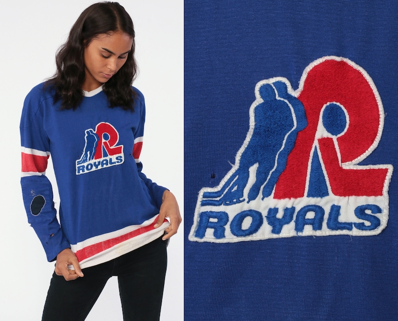 pretty nice 1c9c8 145be Distressed Hockey Jersey Royals Jersey Shirt 80s Long Sleeve Tee Sports  Athletic 8 Number Shirt 80s Tshirt Vintage 70s Blue Small