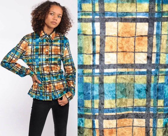 e54490cdfa01a Plaid VELVET Shirt 90s Grunge Blouse Velvet Button Up Top